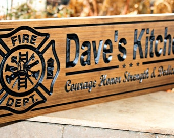 Firefighter Sign-Fire Station sign-Fire Department Sign-Custom sign-Personalized Wood Sign-Firefighter Gift-(CWD-410)