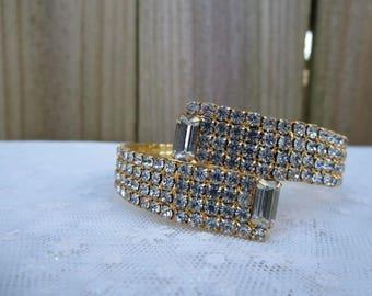 Rhinestone Bracelet, Gold Plated Rhinestone Bracelet, Rhinestone Wrap Bracelet, Vintage Jewelry, Women's Party Bracelet, Stocking Stuffer