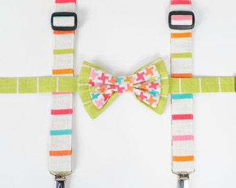 Boy's Bow Tie and Suspenders Set, Bow tie, Boy Suspender, Ring bearer, Boy suspenders, bow tie set, children clothing, photo prop
