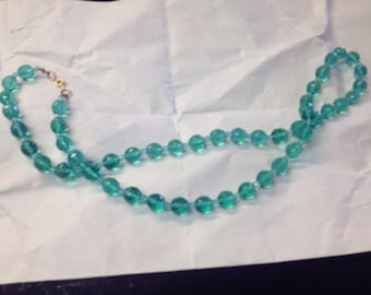"28"" teal faceted crystal bead necklace"