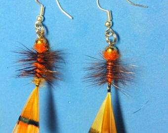 Golden pheasant earrings