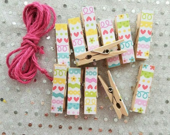 Little Hearts and Scallops Chunky Clothespins w Twine for Display, Clothesline, Wooden Clips Set of 12, Photo Studio, Easter Decorations