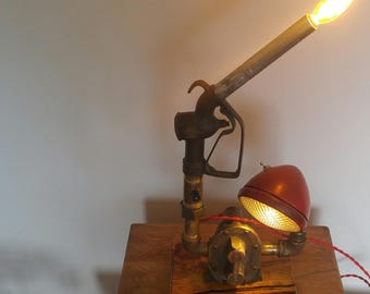 Vintage, upcycled, lamp made with repurposed parts, live edge wood, gas nozzle light , head light, handmade art