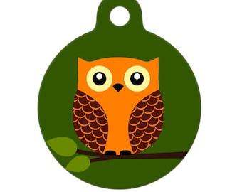 Pet ID Tag - Hoot the Owl Pet Tag, Cat Tag, Luggage Tag, Child ID Tag
