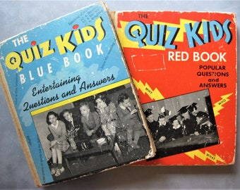 Vintage Hardcover The Quiz Kids Book Set, 1940s, Illustrations, Quizes, Ephemera