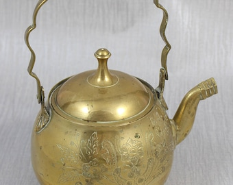 Small Vintage Brass Ornate Ornamental Teapot with Lining Engraved Pattern Surface