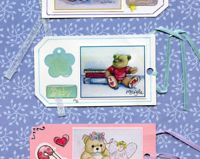 3 GIFT TAGS - HAND Made; set of three, prints of my art work, teddy bears, one of a kind, stickers, narrow ribbon, for boys and girls,