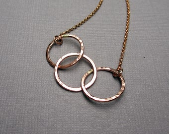 Rose Gold Necklace, 3 Circle Necklace, Rose Gold Circle Necklace, Mom Necklace, Mothers Day, Dainty, Simple, Gold Fill Jewelry, Under 60