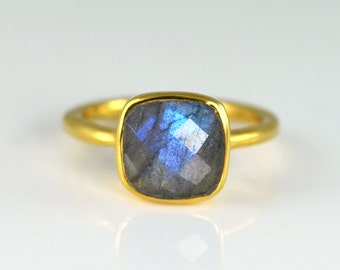 Faceted Labradorite 18K Vermeil Gold ring - Labradorite Ring - Gemstone Ring - Stacking Ring - Gold Ring- Cushion Cut Ring