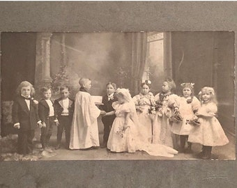 World Cup of Sales Vintage Tom Thumb Wedding Photograph ca.1900 Free Shipping