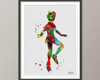 Peter Pan, Peter Pan poster, Peter Pan painting, Peter Pan print, Peter Pan decor, watercolort, Peter Pan art, painting, poster A090