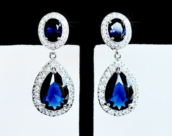 LAST ONE Classic Sapphire Blue Oval and Pear Cubic Zirconia CZ Clip-On Dangle Bridal Earrings, Bridal, Wedding (Sparkle-2426)