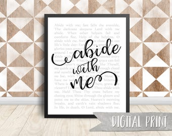 Abide with Me Print, Printable Wall Decor, Digital Print
