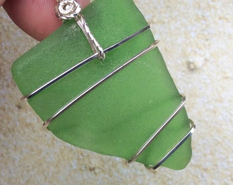 Genuine Sea Glass Necklace, Wire Wrapped Sea Glass Pendant, Sterling Silver Beach Glass Necklace, Green Sea Glass Pendant, Green and Silver.