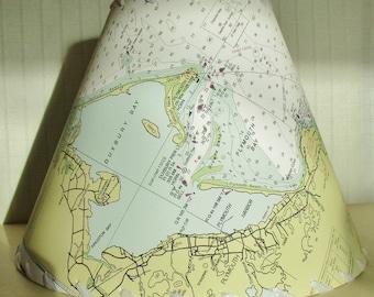 Map Lampshade, Plymouth Duxbury Manomet Ocean Chart Lampshade, Massachusetts NOAA Ocean Chart Lampshade, Nautical Chart Clip Top Lamp Shade