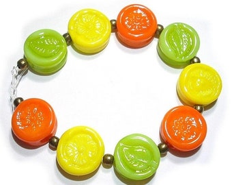 Spring Fling Sale SRA Handmade Glass Lampwork Beads, Citrus Blast Tabs
