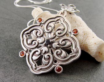 Floral medallion pendant necklace, handmade recycled fine silver, sapphire and garnet necklace-OOAK September & January birthstone  jewelry