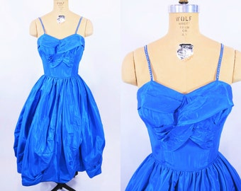"ANNIVERSARY SALE // 1950s evening dress   taffeta sapphire sweetheart rhinestone strap prom cocktail dress   vintage 50s dress   W 25"""