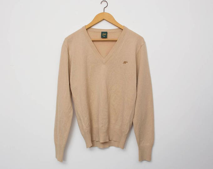 Sweater NOS vintage beige Vneck sweater