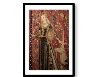 The Lady and the Unicorn -- photograph of tapestry in Paris' Cluny Museum -- digital download / instant download / printable