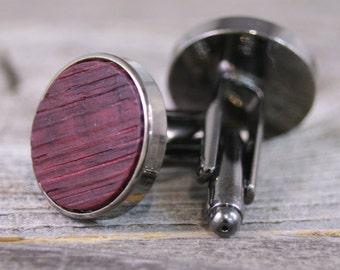 Wooden Cufflinks / French Wine Barrel Oak Wood / Silver Cufflinks / Barrel Stave Cufflinks / Rustic Wedding / Groomsmen Gifts / Gift for him