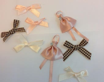 X 8 mini bows of gingham and satin beige, Brown and salmon