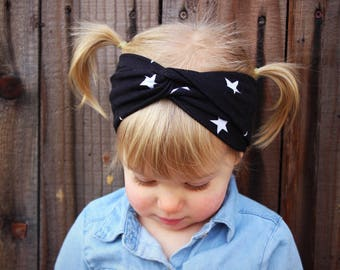 Turban Headband Black and White Stars, Baby Turban, adult headband, Baby Headwrap, Turban Headband, Twisted Headband, Adult Headwrap, Stars