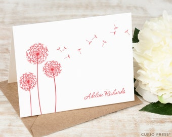 Personalized Notecard Set / Folded Personalized Stationery / Personalized Stationary Note Cards / Pretty Flower Notecard // DANDELION