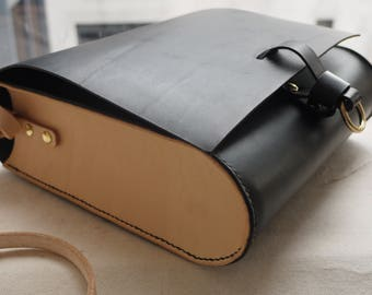 Large cross body leather bag, black purse, satchel, small messenger bag, black cross body pouch, Hand sewn bag.  Made in UK
