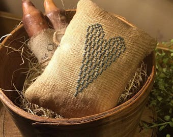 Primitive Heart Pillow Tuck Pin Keep | Farmhouse Blue | Bowl Filler | Colonial | Stitchery | Cross Stitch |
