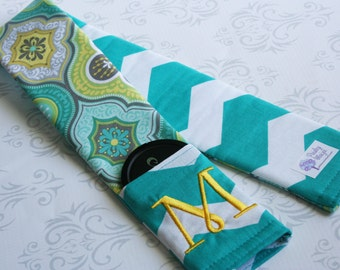 Embroidered Reversible Camera Strap Cover with Lens Cap Pocket - Teal and Gray Moroccan with Teal Chevron- MADE TO ORDER