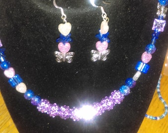blue/pink butterfly/heart necklace and earrings