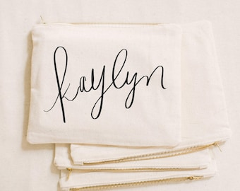 Custom Makeup Bag - Calligraphy Name, cosmetic, pencil case, clutch, wedding favor, present, bridesmaid gift, women's gift
