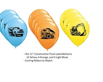 Construction Truck Balloons, Construction Truck Latex Balloons