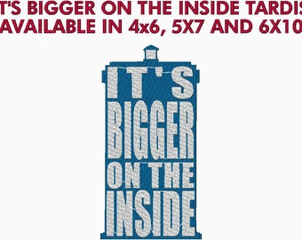 Tardis Doctor Who - It's Bigger on the Inside Embroidery Design