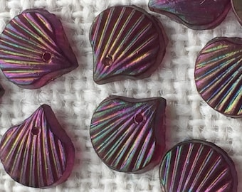 Item 268 Vintage Purple Glass Seashell Beads Qty 2