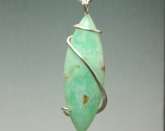 Chrysoprase Marquise Cold Forged Sterling Silver Pendant