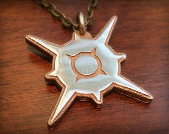 Pokemon Sun and Moon Version Sun Stainless Steel 3D Printed Pendant and Keychain