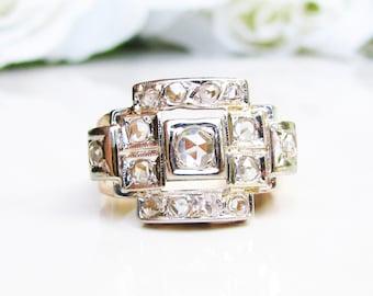 Art Deco Rose Cut Diamond Engagement Ring 0.69ctw Diamond Ring Unisex Antique Wedding Ring 18K Gold Men's Diamond Ring