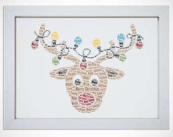Personalised Festive Holiday Christmas Reindeer Framed Word Art Picture Print Gift