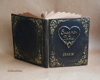 Personalized Guest book, Black Guest book, Black gold Wedding, Personalized Name & date, Kraft paper or ivory paper pages, Elegant Wedding.