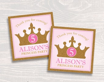 Personalized Princess Party Favor Tags or Stickers – DIY Printable – Glitter Crown (Digital File)