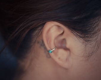 Turquoise Ear Cuff Sterling Silver