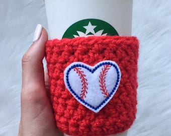 Baseball Cup Sleeve, Baseball Coffee Cozy, Baseball Gift