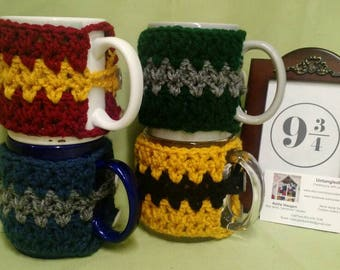 Mug Hugs--Harry Potter style!  Available in all 4 house colors: Gryffindor, Ravenclaw, HufflePuff, and Slytherin