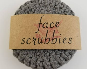 Gray Eco Friendly Reusable Face Scrubby, Reusable Makeup Remover Pads, Cotton Face Scrubbies