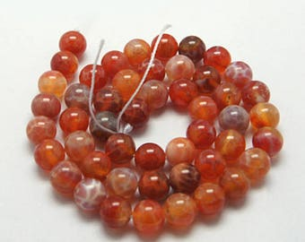 10mm Natural Fire Agate Beads Orange Round