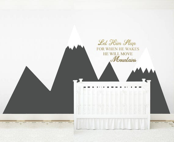 Mountains Wall Decal Baby Room Decor NURSERY Wall Art Headboard Let Him Sleep Quote Baby Boy Kids Corner Wall Sticker #mountains031