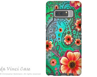 Teal Floral Galaxy Note 8 Case - Paisley Case for Samsung Galaxy Note 8 with Floral Art - Paisley Paradise - Premium Dual Layer Case