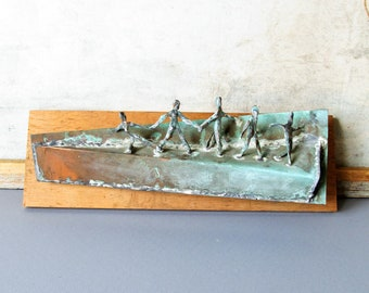 Vintage copper wall sculpture, metal wall decor, abstract wall sculpture.